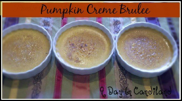 Pumpkin Creme Brulee Dessert in ramekins with brulee sugar