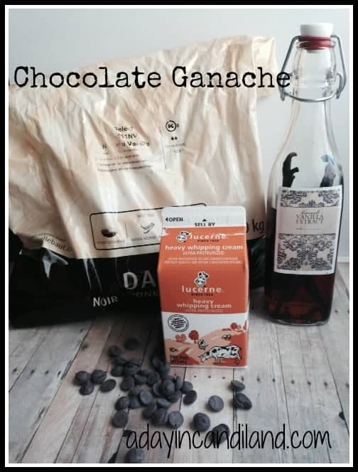 Easy Chocolate Ganache recipe Ingredients from a day in candiland