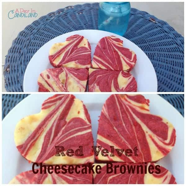 Red Velvet Cheesecake Brownies cut into heart shapes