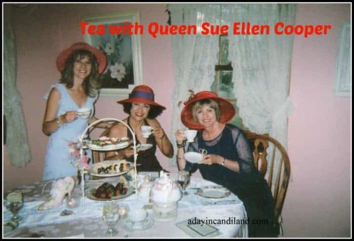 Serving Tea to Queen Sue Ellen Cooper at my teahouse. Find all my tea time recipes on this post. #candilandblogs