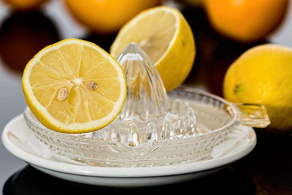 Crystal Lemon Juicer with sliced lemon