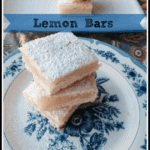 Lemon Bars on White Plate and Blue and White Plate with Powdered Sugar