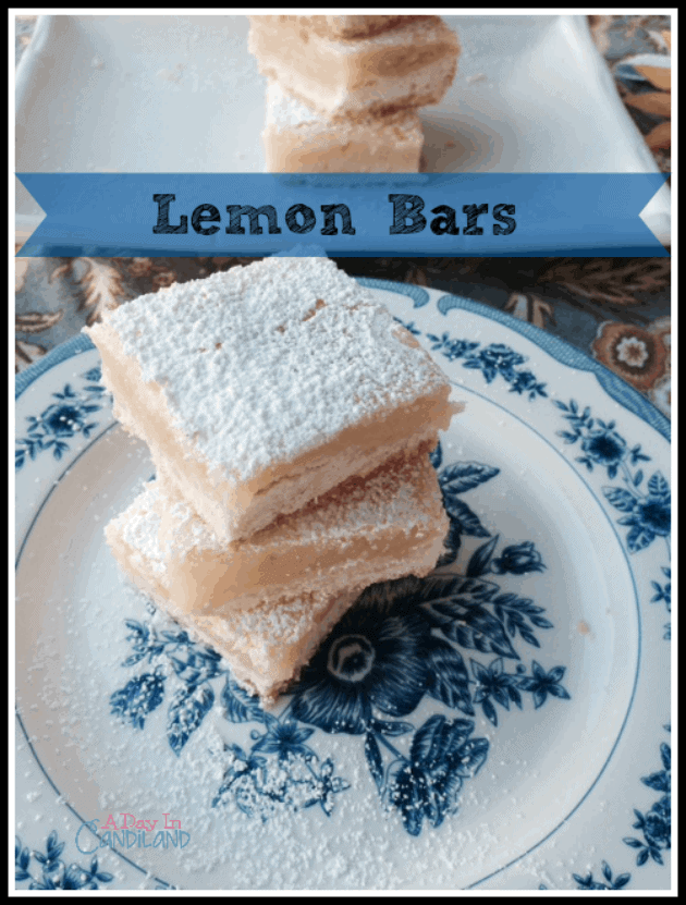 The best Lemon Bars ever on White Plate and Blue and White Plate with Powdered Sugar