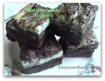 Mint Cheesecake Brownies from A Day In Candiland.com
