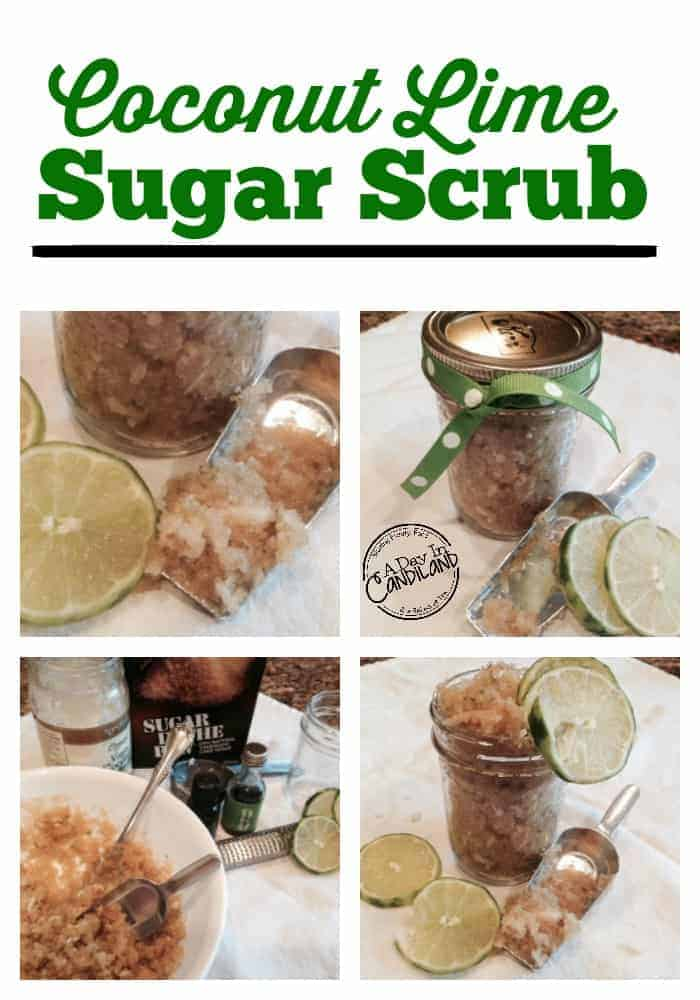 Coconut lime sugar scrub for showers, hostess gifts, holidays and teacher gifts