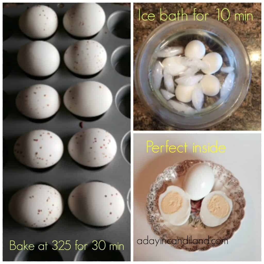 Make these hard boiled eggs in the oven and make a lot at one time, while eliminating cracking or sitting over the pot watching it boil. It is so easy to do and they taste great.