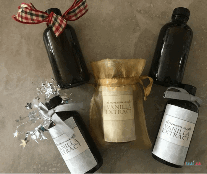DIY Homemade Vanilla Extract decorated for the holidays
