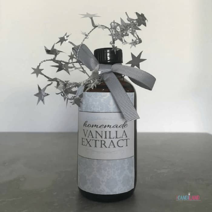 Homemade Vanilla Extract decorated for the holidays