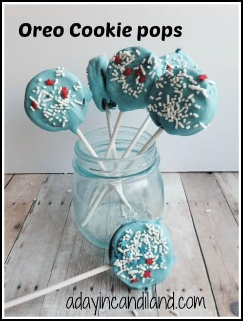 Glass of Blue Oreo Cookie Pops