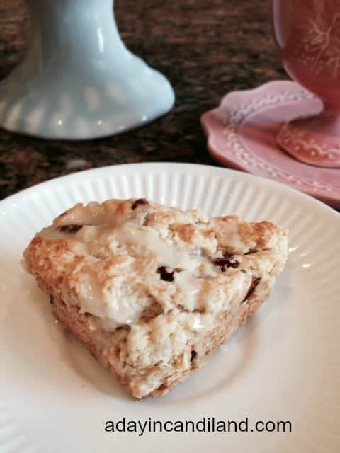 Starbucks Copycat Cranberry Orange Scone on white plate