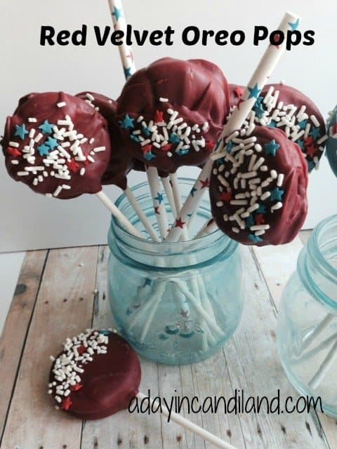 Red velvet Oreo Pops in glass jar