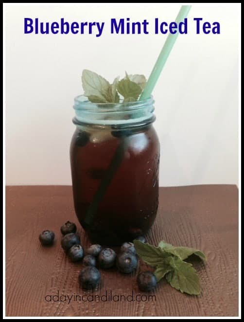 Blueberry Mint Iced Tea in Blue Mason Jar