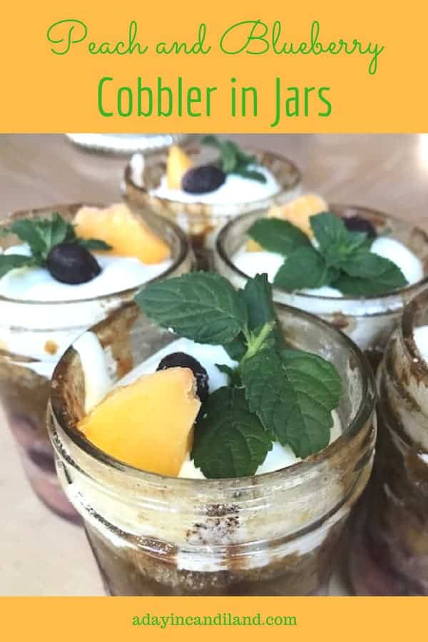 Peach and Blueberry Cobbler in Jars