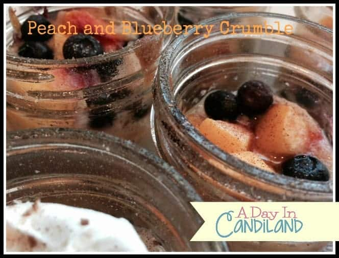 Three mason jars of peach and blueberry cobbler