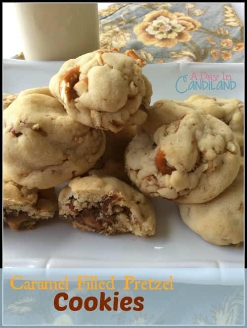 Caramel filled pretzels cookies facebook image