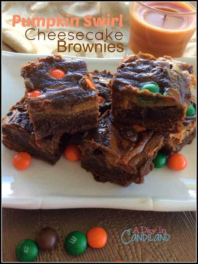 Finished Pumpkin Swirl Cheesecake Brownies