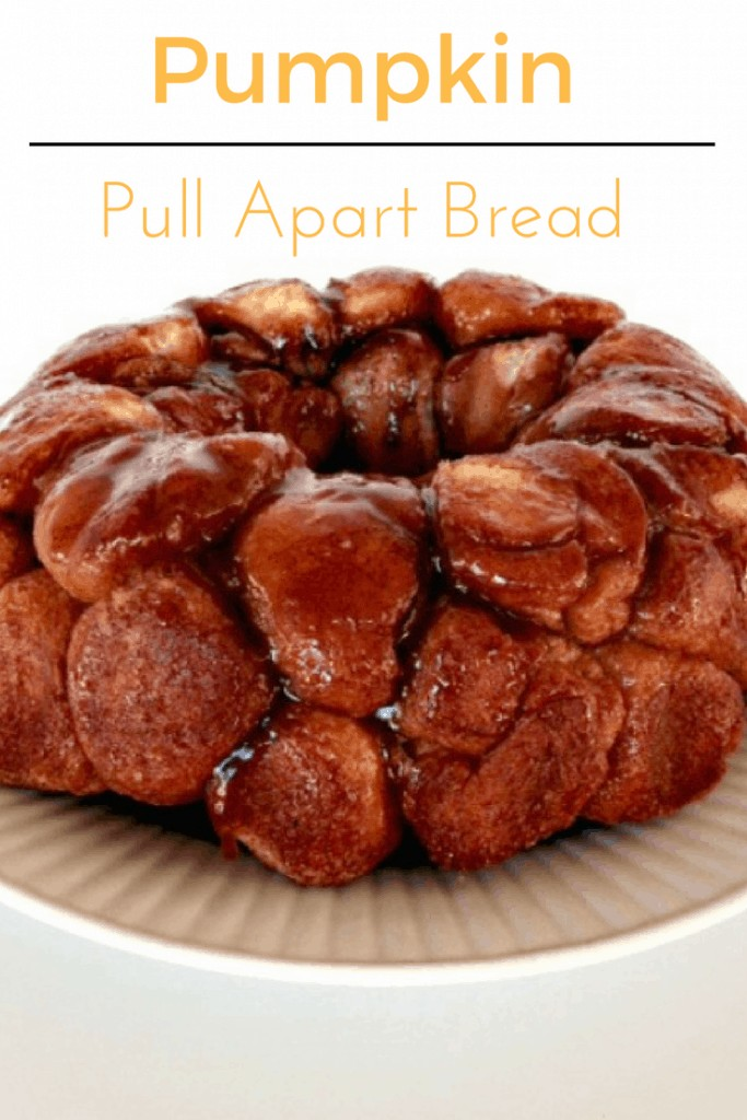 Pumpkin spice pull apart bread stuffed with cream cheese.