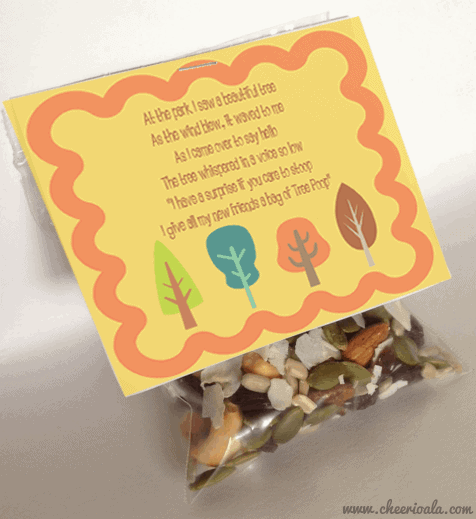Paleo tree poop recipe - all packaged up in a treat bag