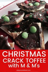Christmas Toffee Crack Saltines with M & Ms on plate
