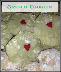 Grinch Cookies with hearts