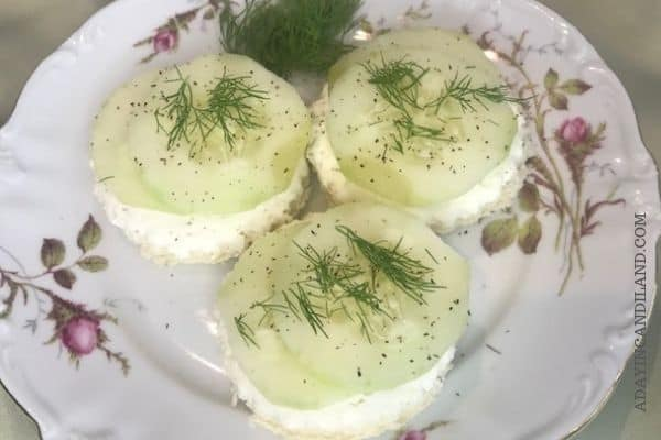 3 Cucumber tea sandwiches on a plate