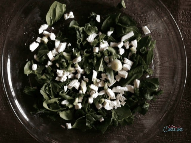 Spinach and Feta in pie plate