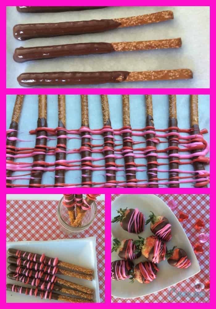 Chocolate Dipped Pretzels and Strawberries