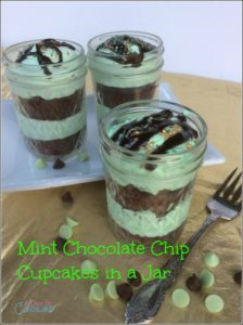 Mint Chocolate Chip Cupcakes in a Jar