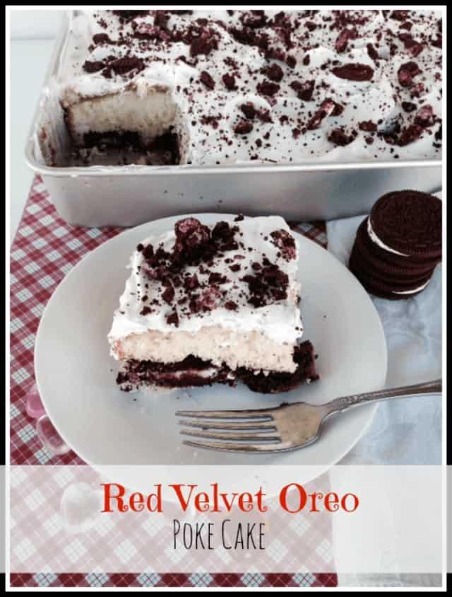 Red Velvet Oreo Poke Cake Hero Shot