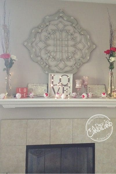 Red Pink White Valentines Mantel