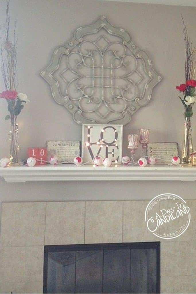 Romantic Valentines Mantel Decor