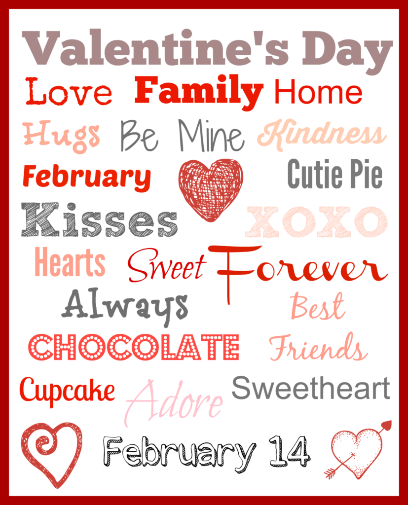 Valentine's Day Printable Subway Art