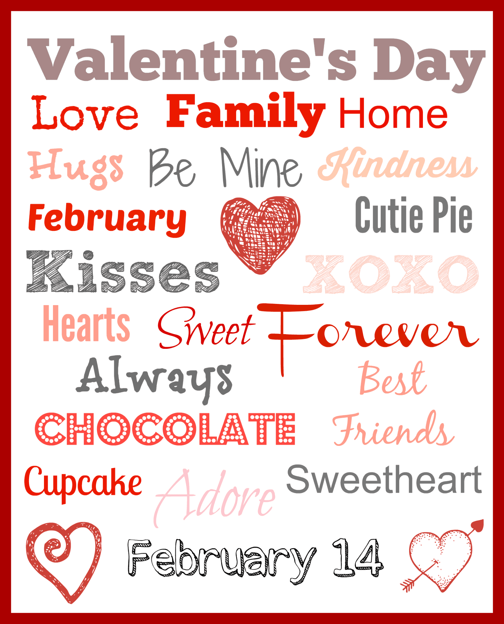 Valentine's Day Subway Art Free Printable