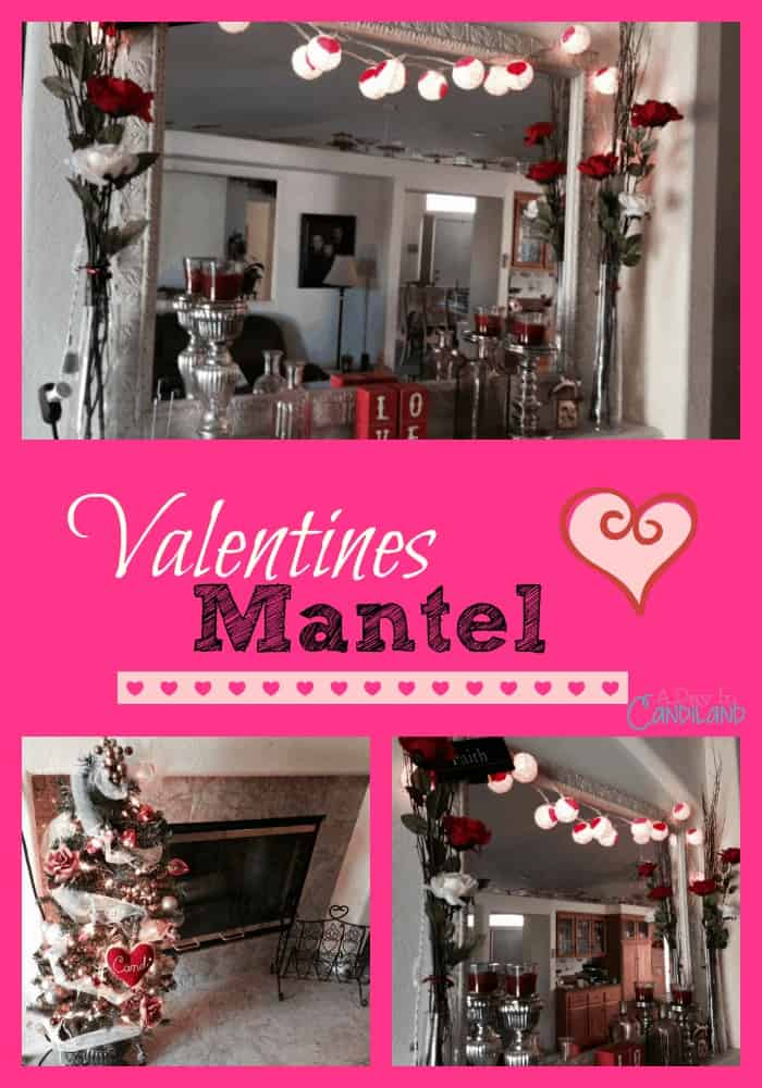 Red Pink White Valentines Mantel Collage