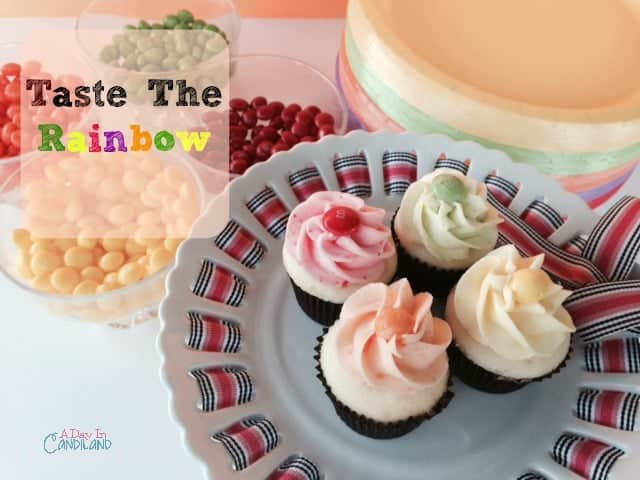 Taste The Rainbow Cupcakes with Skittles