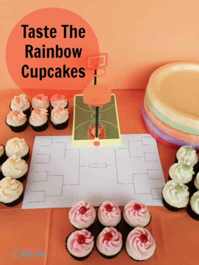 Taste The Rainbow Cupcakes #skittlestourney #ad