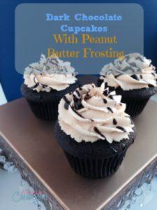 Dark Chocolate Peanut Butter Cupcakes from (adayincandiland.com)