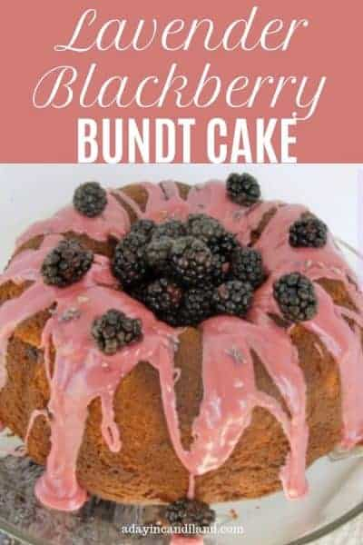 Blackberry Lavender Bundt Cake on Cake Plate