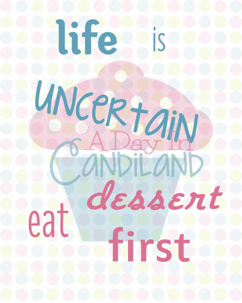Eat Dessert First Printable with watermark free printable on the website