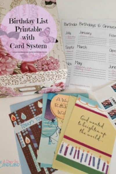 Birthday Organization System and Printable