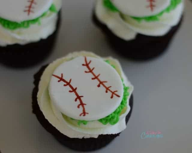 Chocolate Baseball Fondant Topper Cupcakes