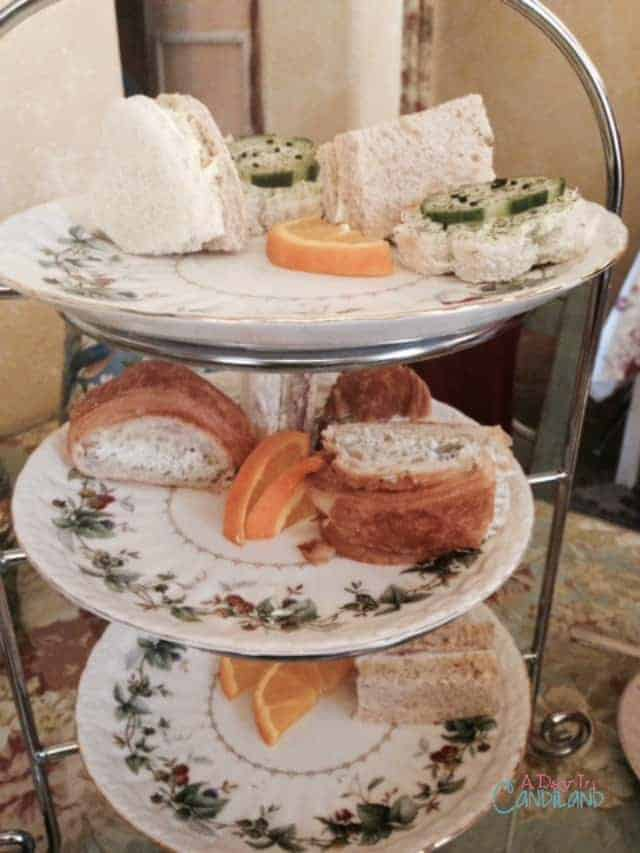 belladonna 3 tiered tray with tea sandwiches for afternoon tea