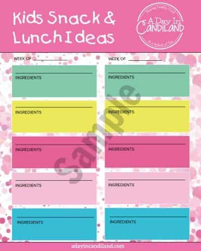 Lunch and snack ideas for kids at school sample
