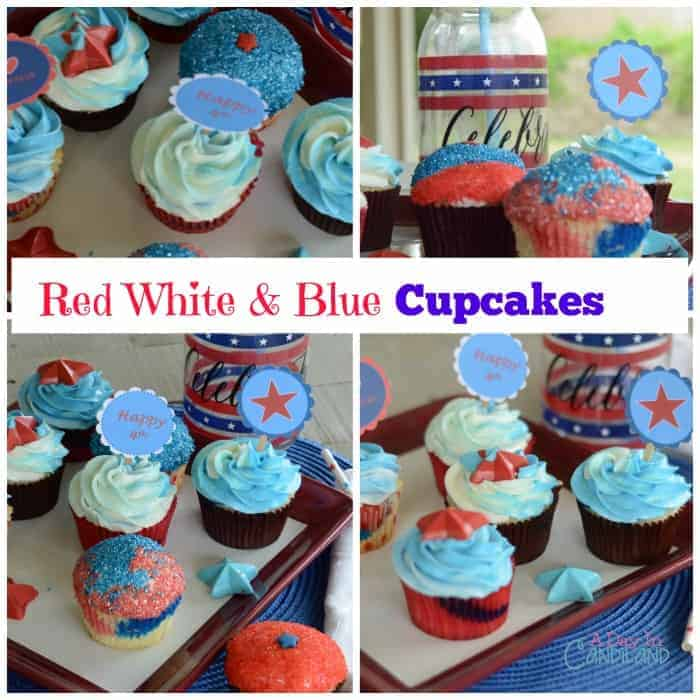 Red White and Blue Cupcakes with Free Printable