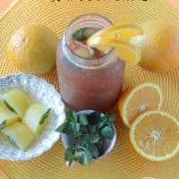 Tropical Orange Spice Iced Tea with Mint Ice Cubes