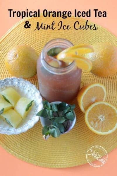 Tropical Orange Spice Iced Tea with Mint Ice Cubes