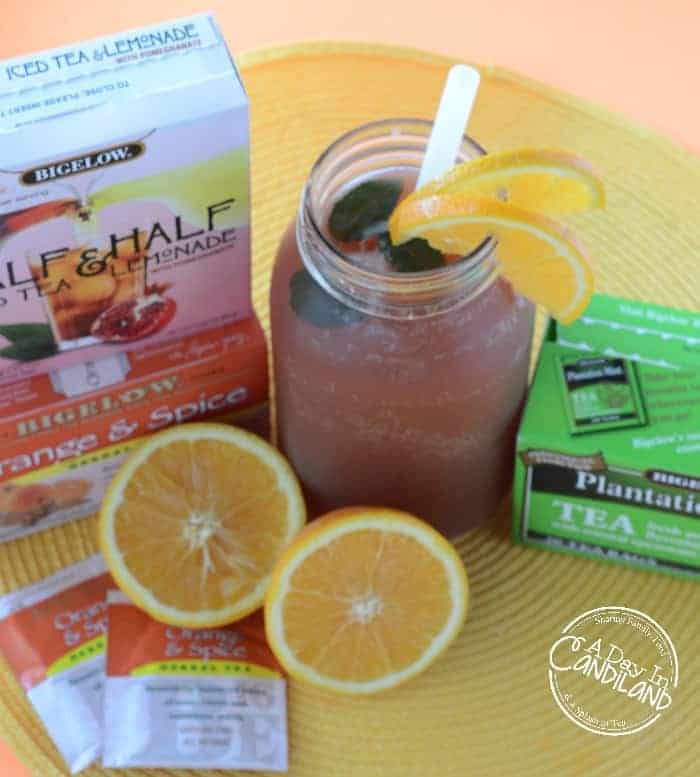 Tropical Orange Iced Tea with Bigelow tea boxes