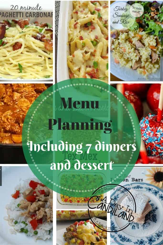 menu planning made easy week 6