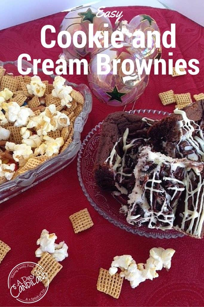 Easy Cookies and Cream Brownies are a great dessert to make with family for a get together