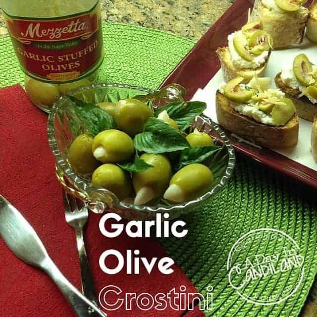 Garlic Olive Crostini #Mezzetta Olives